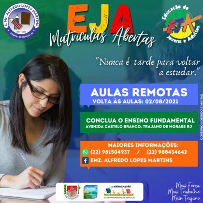 Matrículas EJA 2021 Trajano de Moraes